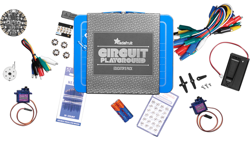 Adrafruit Circuit Playground pack fully equipped with STEM accessories.