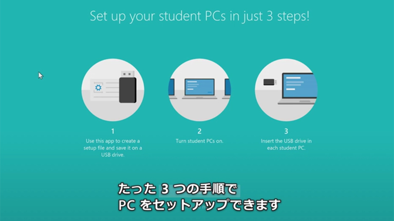 A screenshot of a video showing 3 steps to setting up a PC with Japanese subtitles.