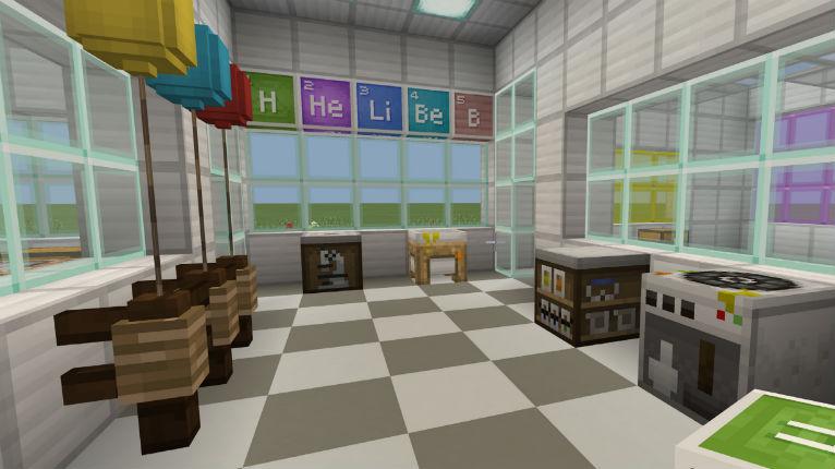 Záběr obrazovky Minecraft: Education Edition s virtuálním laboratorním prostorem