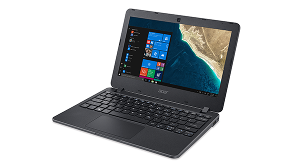 Image of an Acer Travelmate B117 laptop displayed open