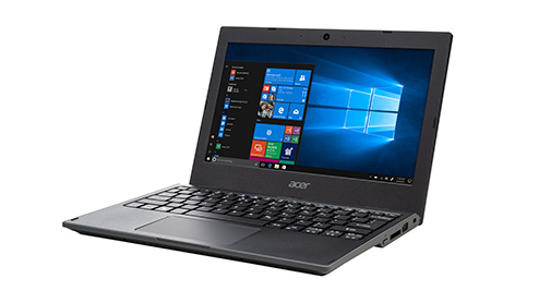 Acer TravelMate B118-M  *ERP £229 ex VAT A tough laptop build to survive intense classroom use. Key features include extra-long battery life, full-size spill proof keyboard and webcam.