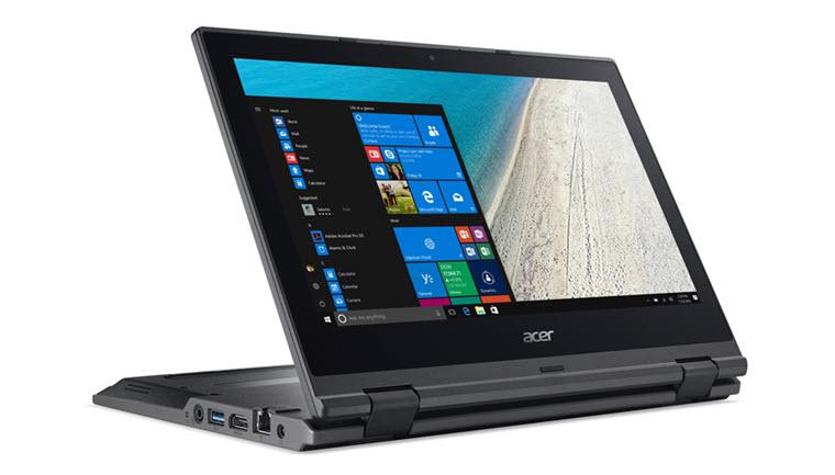 Esta é uma imagem de um Acer Travelmate B118 mostrado aqui