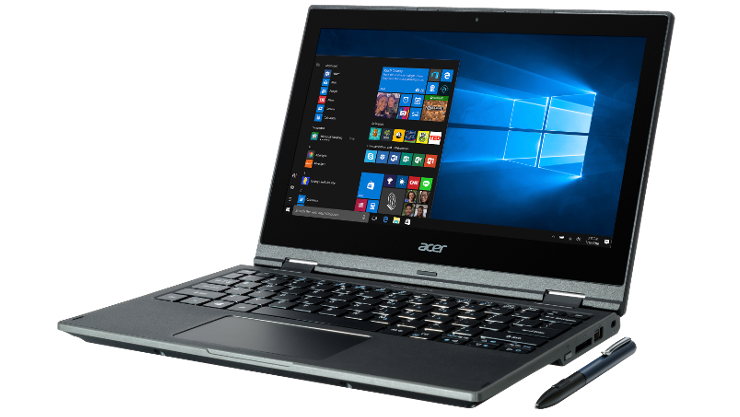 Image of a Acer TravelMate Spin B1 laptop displayed open