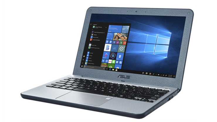 Image of an Asus VivoBook E201 laptop displayed open