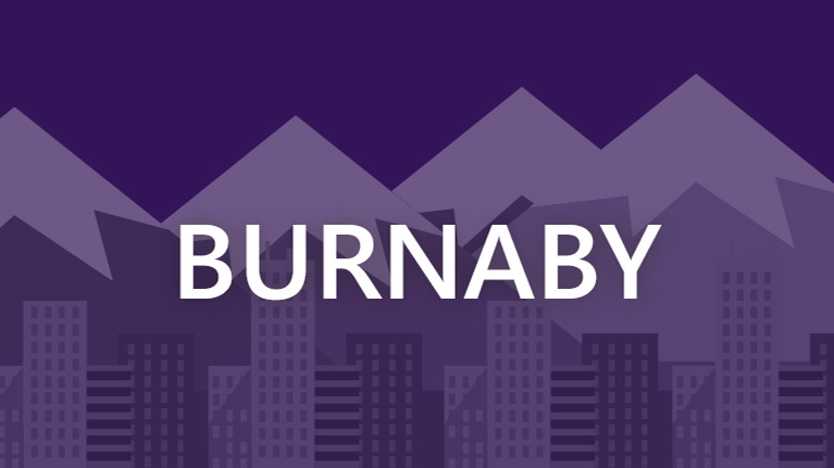 A graphic image of the Burnaby skyline with Burnaby written in white on a purple background.