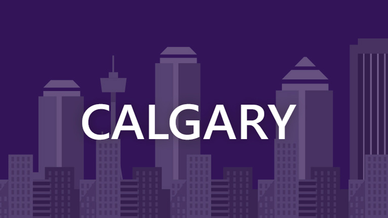 A graphic image of the Calgary skyline with Calgary written in white on a purple background.