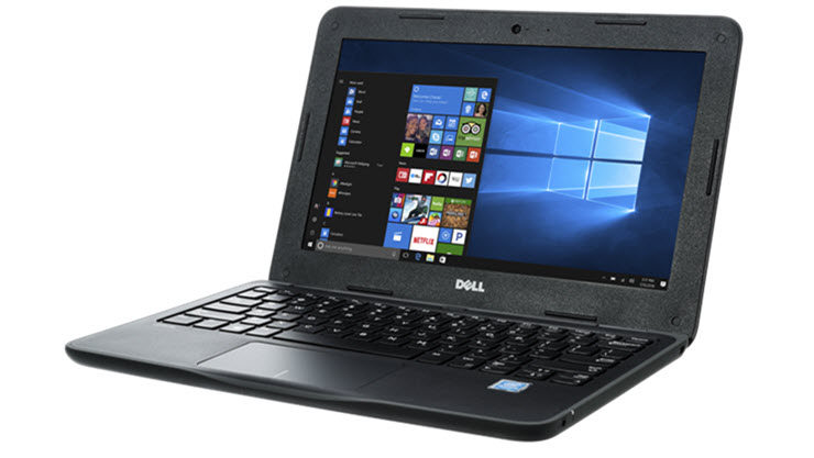 Image of a Dell Latitude 3180 laptop displayed open