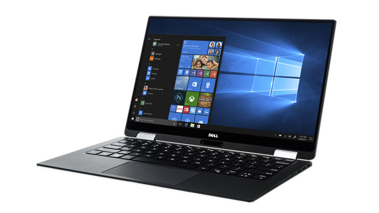 Image of a Dell XPS 2-in-1 laptop displayed open