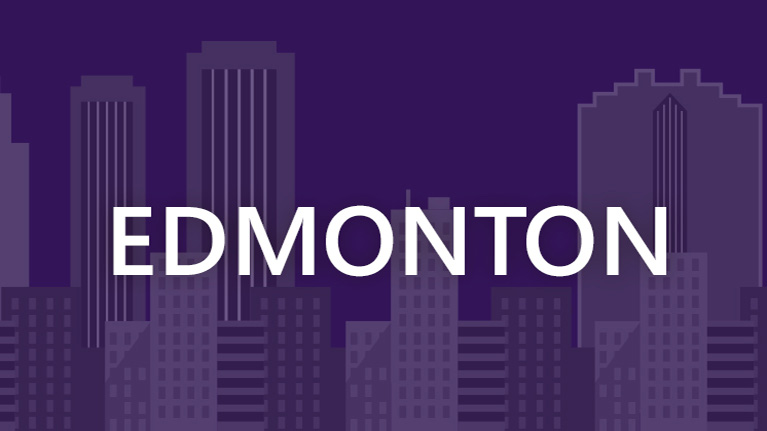 A graphic image of the Edmonton skyline with Edmonton written in white on a purple background.