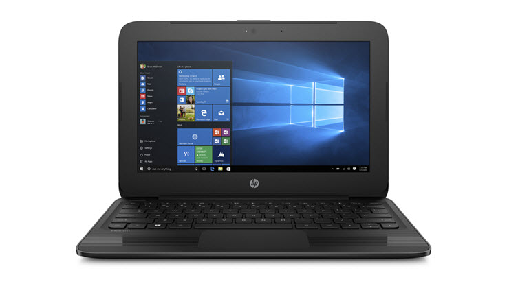 Image of an HP Stream 11inch laptop displayed open.