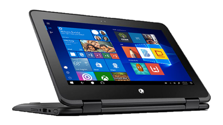 A photograph of the HP ProBook X360 11 EE convertible laptop.