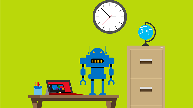 Illustration of a toy robot standing on a desk with a surface laptop