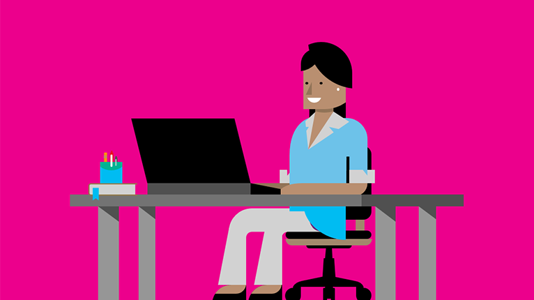 A graphic image of a woman sitting at a desk, working on a laptop.
