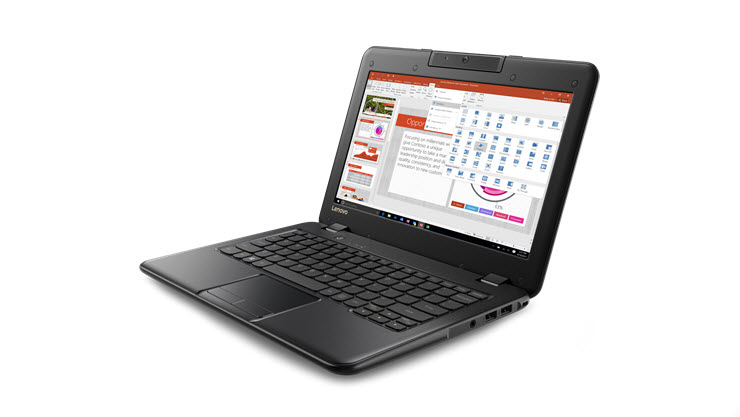 Image of a Lenovo 100e laptop displayed open