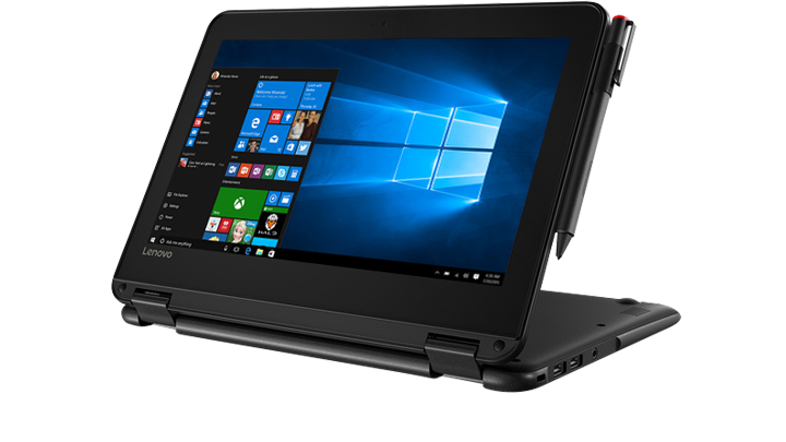 image of a Lenovo 300e Flexing from tablet to laptop in seconds