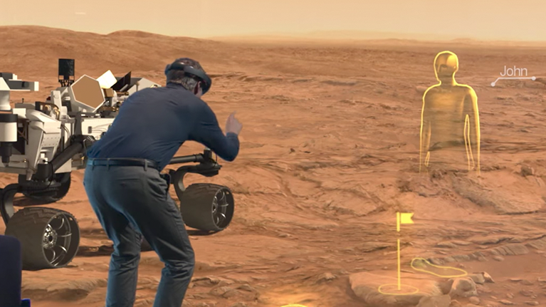 Man using HoloLens in a Star Wars setting.