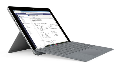 """Microsoft Surface Go • Screen size: 10"""" • Battery life: up to 8.5 hours • Memory: 4GB"""