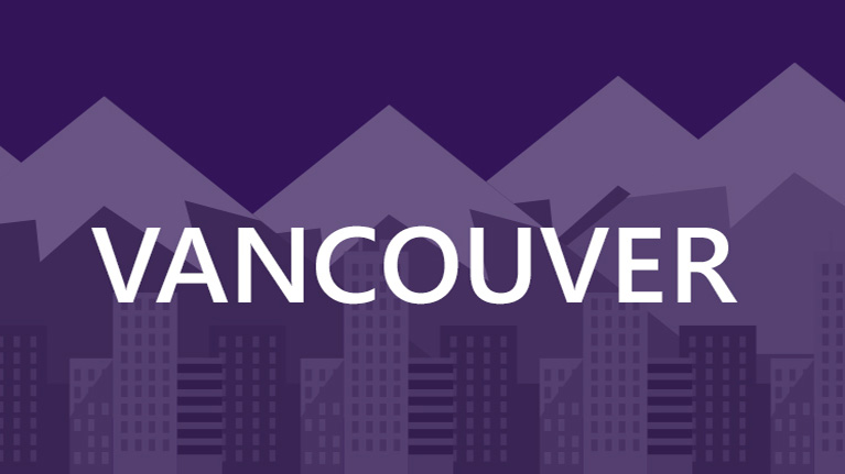 A graphic image of the Vancouver skyline on a purple background with Vancouver written in white.